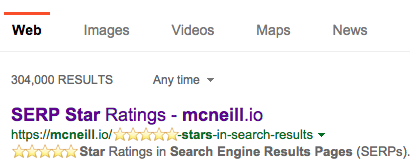 Bing SERP results with stars in URL, and meta description