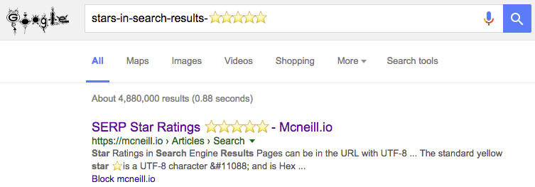 Google SERP results with stars in Title, URL, and meta description