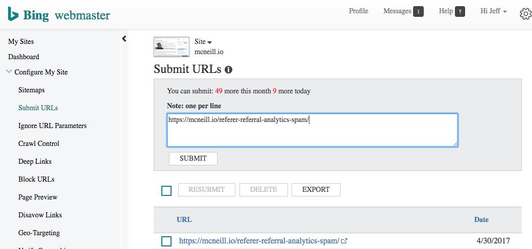 Submit URLs to Bing, Google, Yandex | Jeff Mcneill