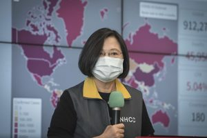 Taiwan president wearing a facemask